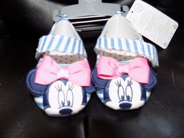 DISNEY STORE BABY STRIPED MINNIE MOUSE DRESS SHOES INFANTS NEW - $20.50