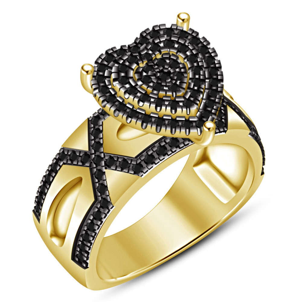 Black Diamond Solid Yellow Gold Plated 925 Sterling Silver Engagement Women Ring