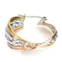 Twisted Tri-Color Silver, Gold & Rose Tone Hoop Earrings- United Elegance image 4