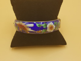 Vintage Cloisonne Blue Enamel Bracelet W/ Floral And Bird Design Lock Clasp - $38.72