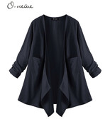 O-Newe Pocket Irregular Navy Blue Flyaway Draped Minimalist Laganlook Ca... - $11.30