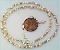 Peach Freshwater Pearl Necklace - $27.22