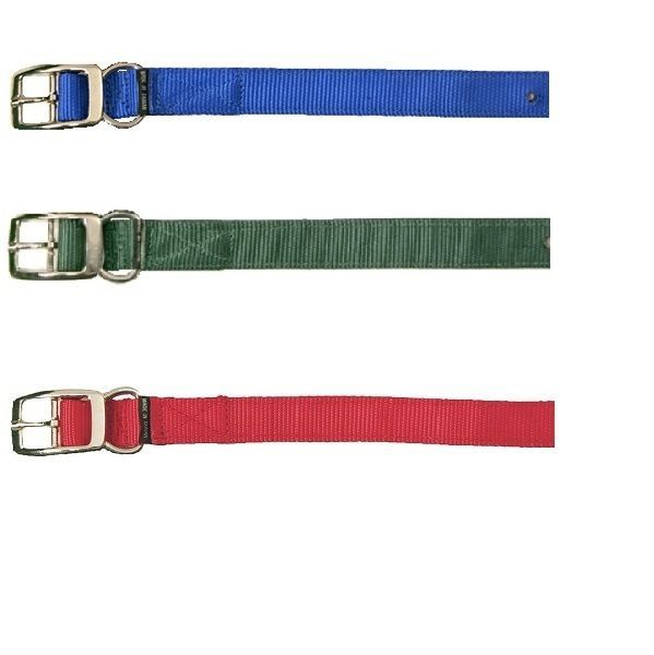 """Nylon Dog Collar 1"""" Wide 2 Ply Double Stitched - Choice of Blue Green or Red - $5.00"""