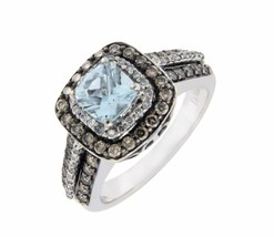 LeVian 14K Gold Chocolate & White Diamond Blue Topaz Engagement Ring S 6... - £662.09 GBP