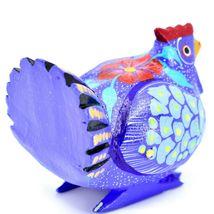 Handmade Alebrijes Oaxacan Wood Carved Painted Chicken Hen Rooster Figurine image 3