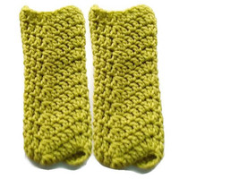 Green Warmers boy girl children, baby cozies, boot cuff pair, ankle cozy... - $8.00