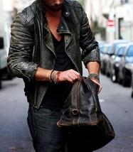 Distressed Men Leather Jacket Premium Men Leather Jacket Designer Men Jacket-1 - $175.75
