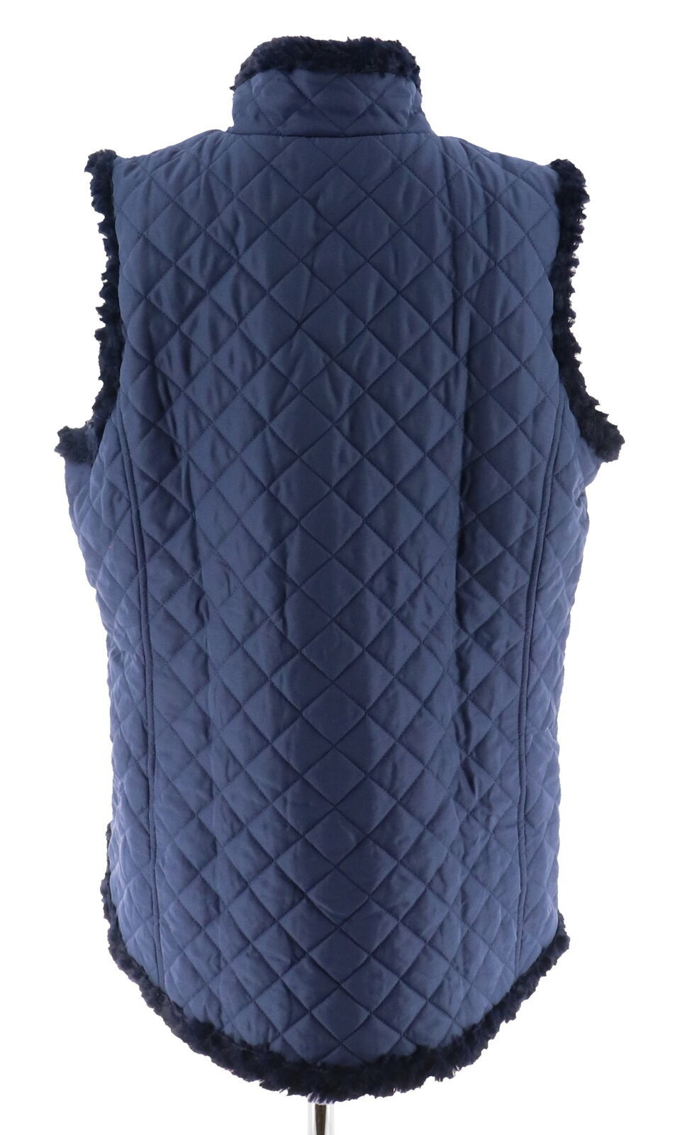 Denim & Co Reversible Zip Front Textured Quilted Vest Dark Indigo M NEW A282681 image 3