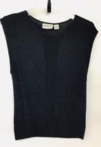 Vtg 80s Grand Tier Petite M Black Silk Knit Pullover Sleeveless Sweater ... - $39.57