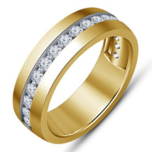 Mens Engagement Wedding Band Ring Yellow Gold Fn 925 Silver Round White ... - $82.99