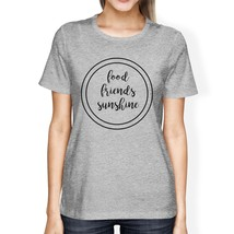 Food Friends Sunshine Cute Lettering Womens Grey Round Neck Tee - €12,87 EUR+