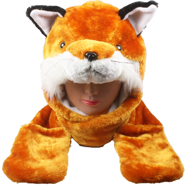 Case of [24] Fox Animal Winter Hats - Mittens