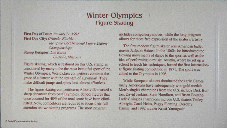 WINTER OLYMPICS - Figure Skating  FIRST DAY OF ISSUE STAMP: Jan. 11, 1992