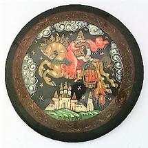 Black Lacquer Scenic Russian Artistic Brooch - $10.10
