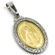18K YELLOW WHITE GOLD ZIRCONIA MIRACULOUS BIG 27mm MEDAL VIRGIN MARY MADONNA image 2