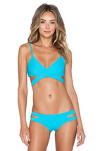 NWT L SPACE M swimsuit bikini 2PC turquoise Chloe wrap top Estella cutout bottom image 1