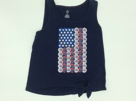 4th of July American Flag Navy Shirt Girls  Size Large 10-12 - $7.50