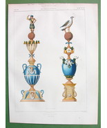 ARCHITECTURE PRINT : Faience Crown Posts Finials - COLOR Lithograph - $22.95