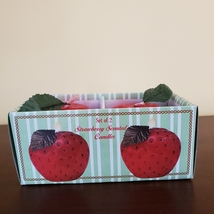 """STRAWBERRY SCENTED CANDLES Set of 2 Red Strawberries Shape Candle 2 1/4"""" H image 2"""