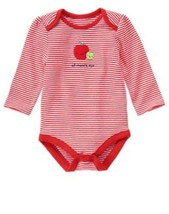 GYMBOREE NWT Girls Newborn Essentials Striped Apple Long Sleeve Bodysuit... - $12.86