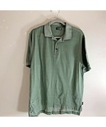 Izod Mens Golf Sz M Green White Polo Half Button Shirt 100% Cotton - $13.83