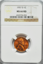 1957 D 1c Lincoln Wheat Cent NGC MS 66 RD Beautiful Uncirculated Coin  - $26.72