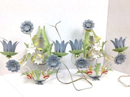 Vintage MC Italy Tole Floral Pair of Electric Sconces Chandelier Shabby ... - $123.70