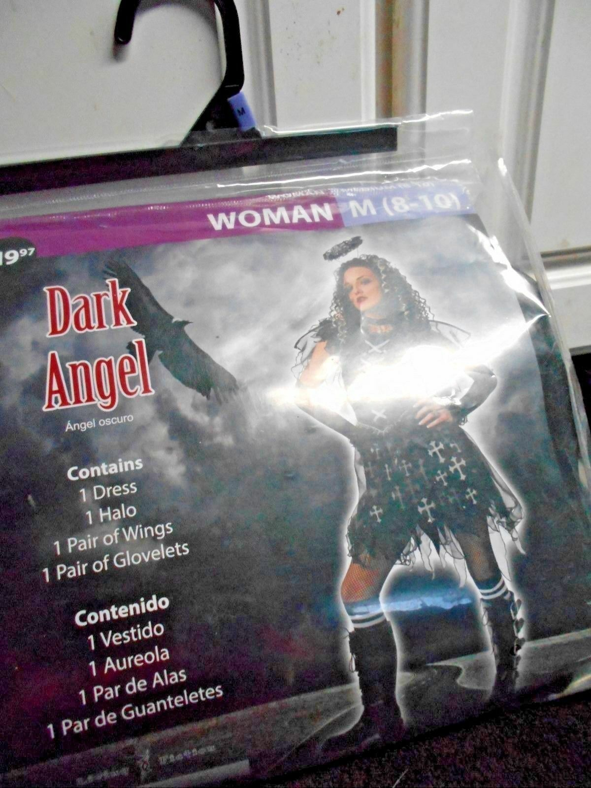 New Womens Dark Angel Sz M 8 10 Dress Halo Wings Glovelets Halloween Dress up