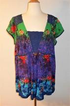 PLUS Dressbarn Womens 1X Colorful Floral Print Crochet Crinkle Flowing T... - $9.46