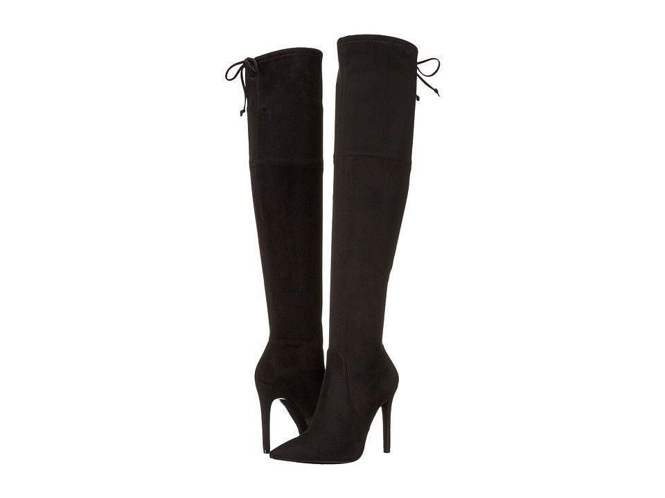 Guess Womens Sz 5 M Akera Over The Knee Black Heel Boots Faux Suede Pointed Toe image 2
