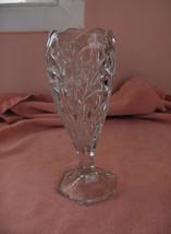 Vintage Clear Pressed Glass Crystal  Tulip Pedestal Vase TNICE - $44.55