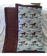 New flannel Running Stallion Horses Blue Brown Baby Blanket - $19.99