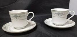 Wade Fine Porcelain China Diane Tea Cup & Saucer: Set of 2, White, Blue ... - $10.69