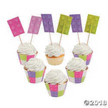 Girl Brick Party Cupcake Wrappers with Picks - $7.49