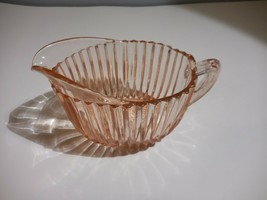 """Queen Mary Pink Anchor Hocking Creamer Vintage Depression Glass 5 1/2"""" X 3"""" - $10.88"""
