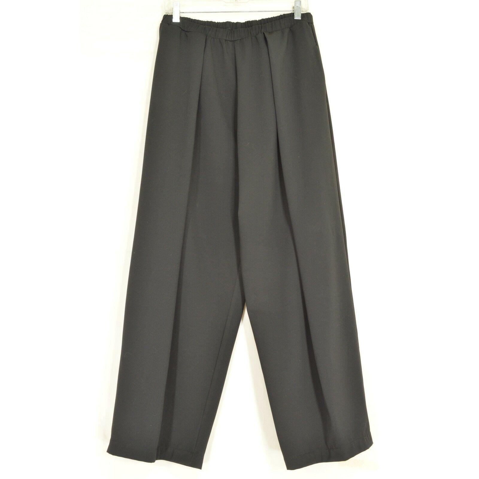 Planet Lauren Grossman pants SZ 3 black Lagenlook wide leg pleat pockets USA
