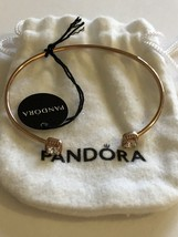 Genuine Pandora Rose Gold Square Sparkle Open Bangle 588508C - $174.95