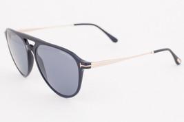 Tom Ford Aviator Sunglasses TF587 Carlo-02 01V Shiny Black / Blue 58mm FT0587 - $165.62