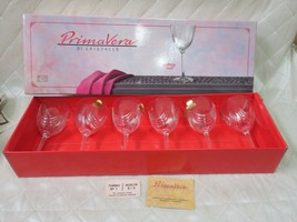 PrimaVera Di Cristall Glasses Valencay Set 6 Magnolia Leaded Crystal Box... - $51.88