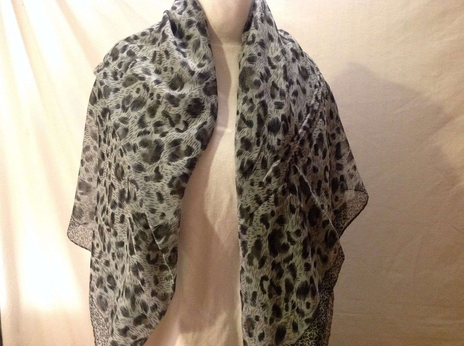 Cheetah or Jaguar Cat print big scarf sheer shawl 84 x 46 ""
