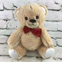 Teddy Bear Plush Tan Sitting Stuffed Animal Red Bowtie Sewn Eyes Soft Toy  - $11.88