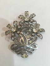 VINTAGE PIN/BROOCH SILVER-TONE Flowers Clear Rhinestones  UNMARKED - $11.66
