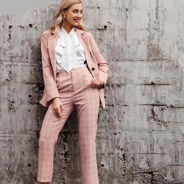 sleeve double breasted blazer pants set pink office ladies 88c61adb ee40 4e9e bdd4 b93eda5896a6