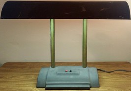 Vintage Mid Century Modern Adjustable Metal Student Bankers Desk Lamp - $21.83