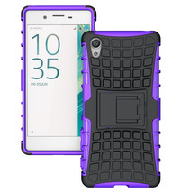 Rugged Dual Layer Protective Case with Kickstand For Sony Xperia XA - Purple  - $4.99