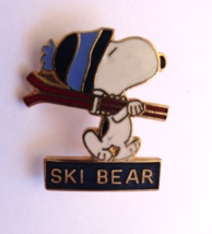 Peanuts Snoopy SKI BEAR Enamel Stick Back Skiing Pin - $6.99
