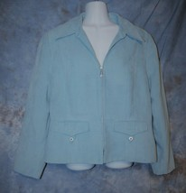 Womens Light Blue Tribal Lined Jacket Blazer Size 12 excellent - $7.91