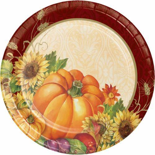 "Regal Turkey 8 Ct 7"" Cake Dessert Plates Thanksgiving Fall Flowers Pumpkins"