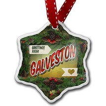 NEONBLOND Christmas Ornament Greetings from Galveston, Vintage Postcard - $25.62