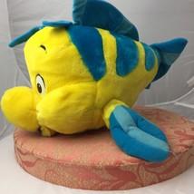Disney World Yellow Flounder Fish Little Mermaid Plush Stuffed Animal Toy 13 in - $23.76